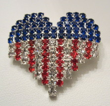 PATRIOTIC USA  RED WHITE AND BLUE RHINESTONE HEART FLAG PATTERN  BROOCH ... - $14.99