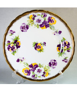 Royal Chelsea Pansy Salad Plate 4219A Yellow Lavender Gold Trim Scalloped Rim - $11.99