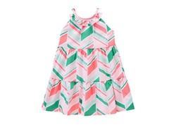 GYMBOREE NWT Island Cruise Pink Green Neon Chevron White Dress Size 8 GI... - $14.24