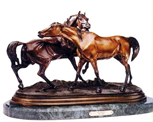 Primary image for Horse and Pony Bronze Statue Sculpture (On Marble Base)