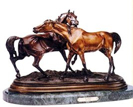 Horse and Pony Bronze Statue Sculpture (On Marble Base) - $1,960.00