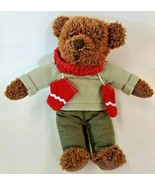 Hallmark Teddy Bear Red Scarf Mittens Green Fleece Top Pants Stuffed Ani... - $12.86