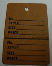 Brown 2 part Merchandise Garment Sale Price Tags Unstrung 1-1/4 x 1-7/8 - $2.99+