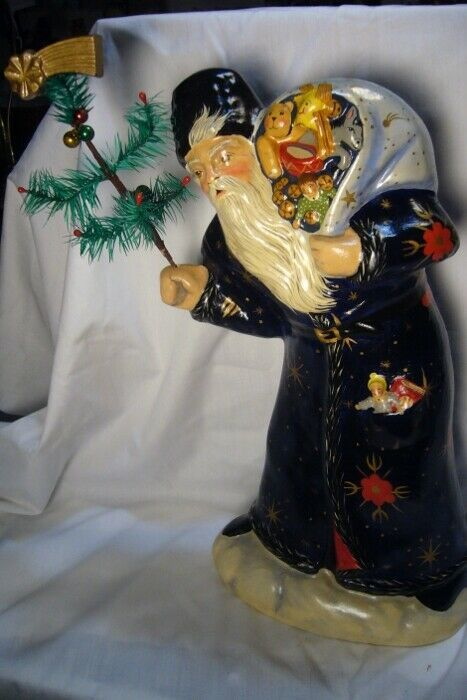 Vaillancourt Folk Art, Blue Father Christmas Lg Window Display signed by Judi