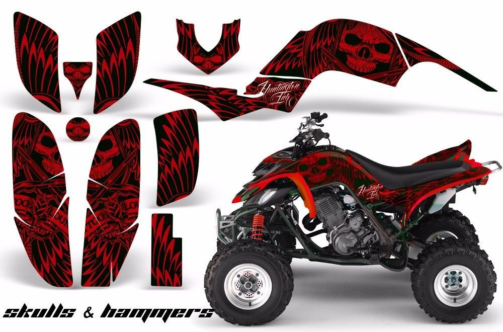 ATV Decal Graphic Kit Quad Sticker Wrap For Yamaha Raptor 660 2001-2005 HISH RED