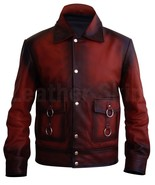 QASTAN Men's New Fashioned Handmade Red Racer Hand Waxed Leather Jacket ... - $147.51+