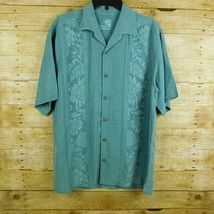 Tommy Bahama Men Hawaiian Shirt Medium Blue Embossed  - $14.49