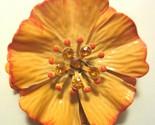 Shocking 1960's Orange Enamel Rhinestone HIbiscus Flower Power Brooch Pin