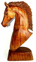 """Huge 20"""" Hand Carved Mahogany Horse Head Bust Western Statue - $59.34"""