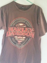 Harley Davidson Brown Men's T Shirt Large Brown Dark Red and White Lette... - $15.85