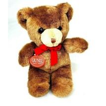 """Gund Karitas Tender Teddy 9"""" Bear Brown Red Velvet Bow Vintage 1983 with Tags - $56.98"""