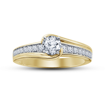 Diamond Yellow Gold Plated Pure Sterling Silver Women's Engagement Weddi... - $73.89