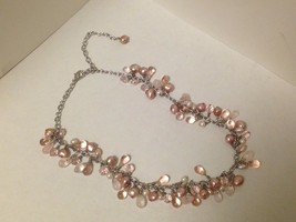 Ann Taylor Pink Tourmaline, Crystal and River Pearls Necklace - $65.00