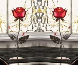 """2 Tealight Candle Holders Romantic Red Ruby Rose on leafy Vine Stand 12.5"""" High - $35.95"""