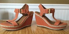 Orange wedge 6 M slingbacks denim sandals Franco Sarto  womens heels - $24.75