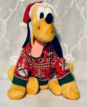 "Disney Store Plush Pluto Christmas Hat and Ugly Xmas Sweater 11"" Tall RARE - $28.59"