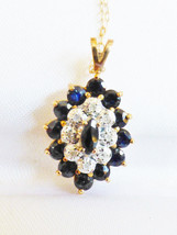 14k yellow gold Genuine Marquise Sapphire & Diamond Halo Pendant Necklac... - $514.80