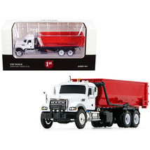 Mack Granite with Tub-Style Roll-Off Container Dump Truck White and Red 1/87 ... - $54.86