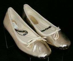 Zara Basic Collection gold man made round toe bow slip on ballet flats 9 EU 40 - $30.40