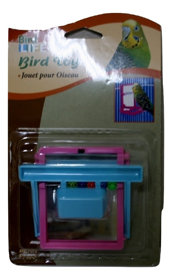 Penn Plax Landing Perch with Mirror and Beads Blue and Pink Bird Toy BA-504