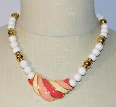 NAPIER Pink Enamel White Acrylic Bead Gold Tone Pendant Necklace Vintage - $39.59