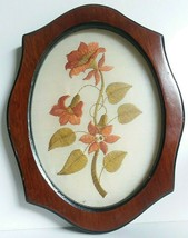 Vintage Embroidered Flowers Wall Art in Wooden Frame, Sunroom Garden Decor - $12.99