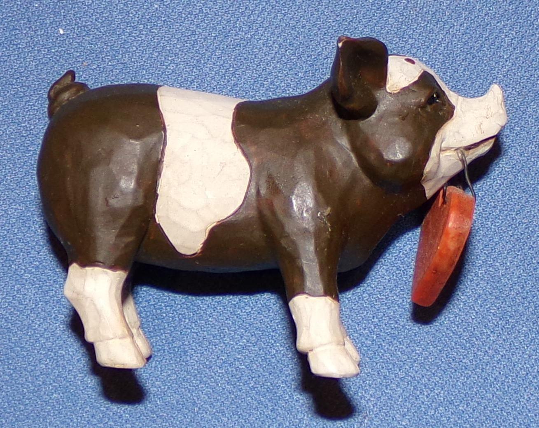 "Pig Pork Figurine Signed Betty 2010 Live Figure 1 1/2"""