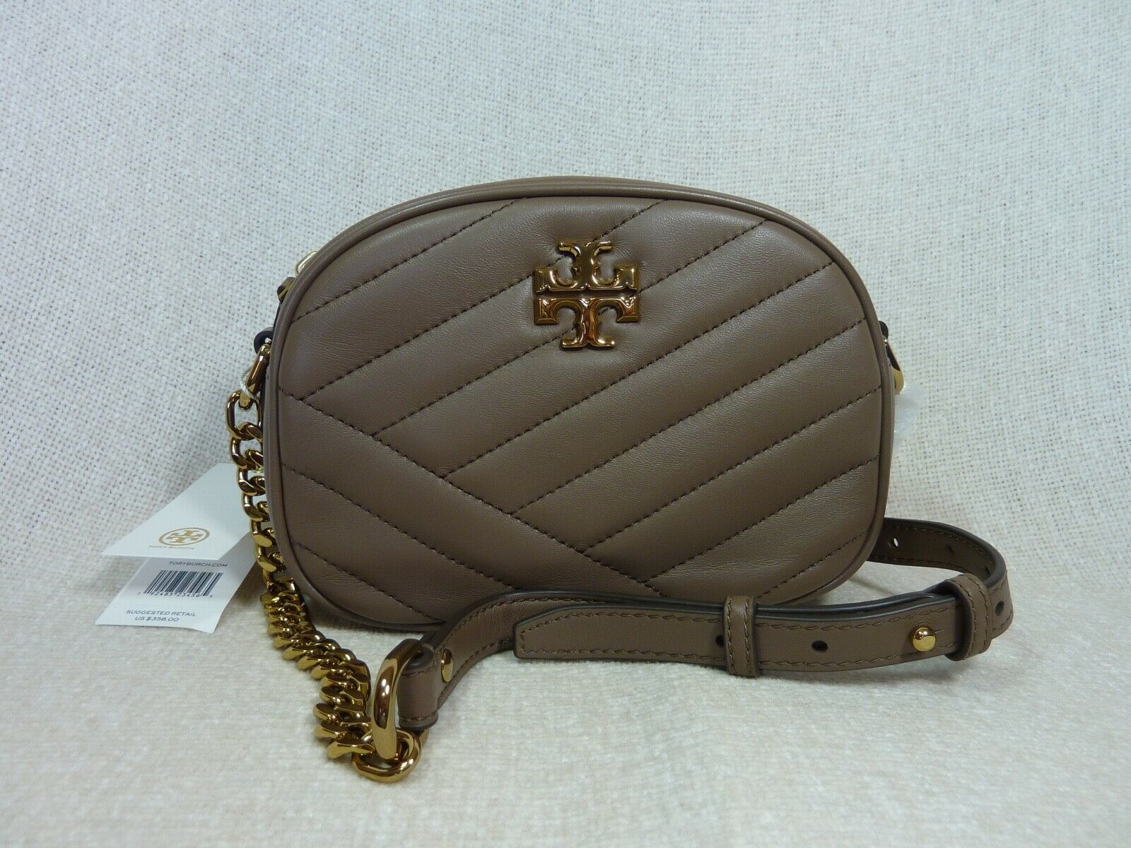Primary image for NWT Tory Burch Classic Taupe Kira Chevron Small Camera Bag $358
