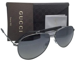New GUCCI Aviator Sunglasses GG 2235/S KJ1LG Gunmetal Aviator w/ Grey+Mirror