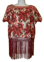 Michael Kors Woman's Pink Red White Floral Design Shirt Tassels Top Size M  - $24.74
