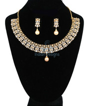 GIFT FOR MOM WHITE PEAR MARQUISE STONE FLORAL NECKLACE SET GOLD PLATED J... - $75.23