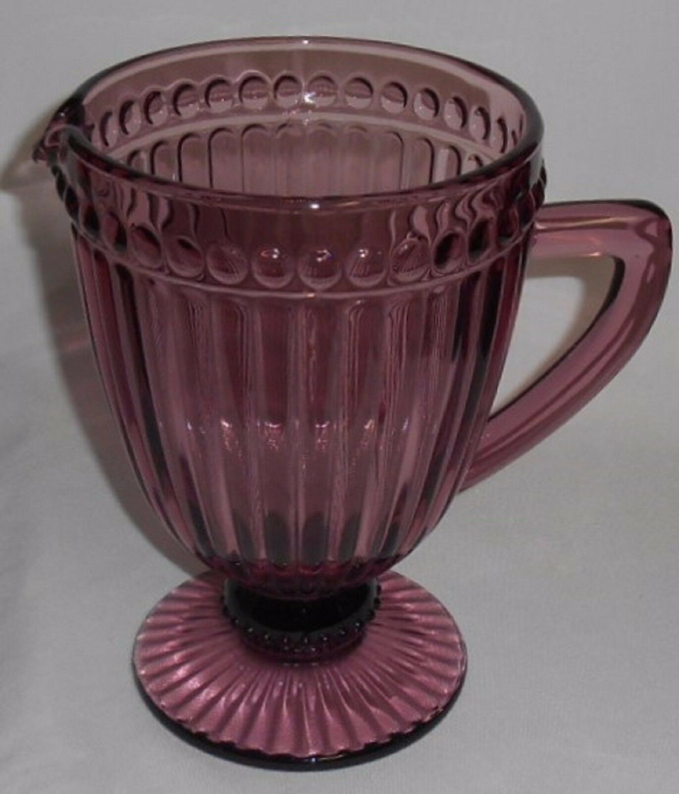 Mikasa Glass MIB ITALIAN COUNTRYSIDE PATTERN Amethyst Color FOOTED PITCHER - $31.67