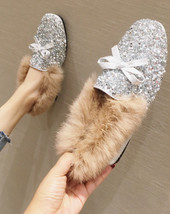 Sequin Sliver Ladies Wedding Ballet Flats Slippers Outdoor Cotton-Padded... - £37.03 GBP