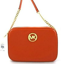 AUTHENTIC NEW NWT MICHAEL KORS LEATHER FULTON ORANGE PERSIMMON EW CROSSB... - $108.00