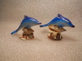 Wood Painted Dolphins on Shells Figurine Statue Hand Made - $12.99