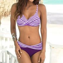 Women Summer Sexy Stripe Cross Swimwear Beachwear Siamese Swimsuit Bikin... - $14.90