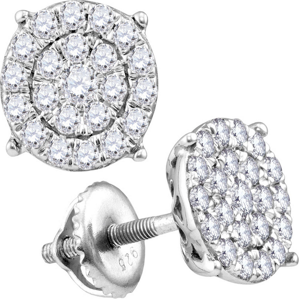 Concentric Circle Earrings: 14kt White Gold Womens Round Diamond Concentric Circle