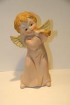 "Homco Bisque Porcelain Angel Figurine Cherub Horn Music Christmas 6"" T Vintage - $19.99"