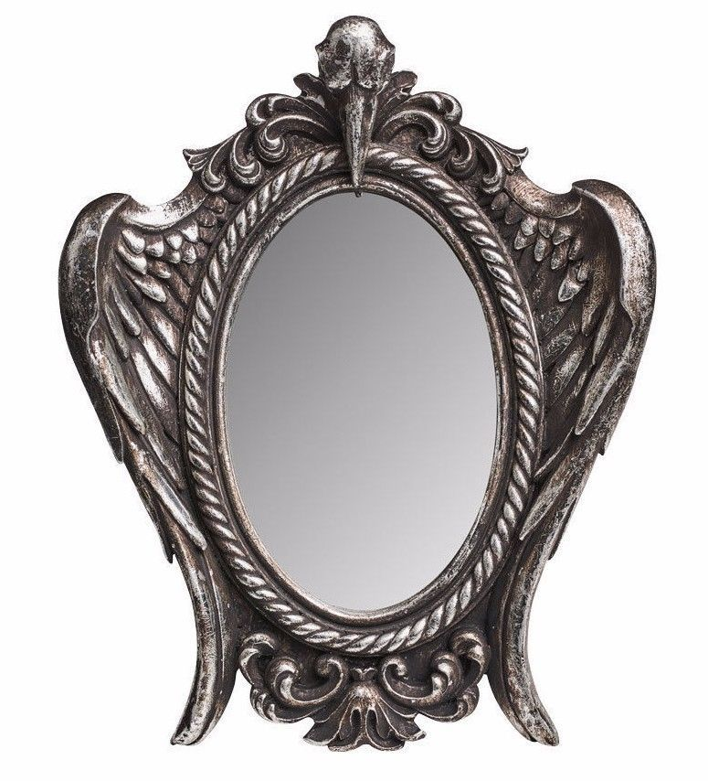 My Soul from the Shadow Raven Skull Antiqued Silver Mirror Alchemy Gothic V56