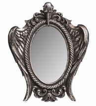 My Soul from the Shadow Raven Skull Antiqued Silver Mirror Alchemy Gothi... - $24.00
