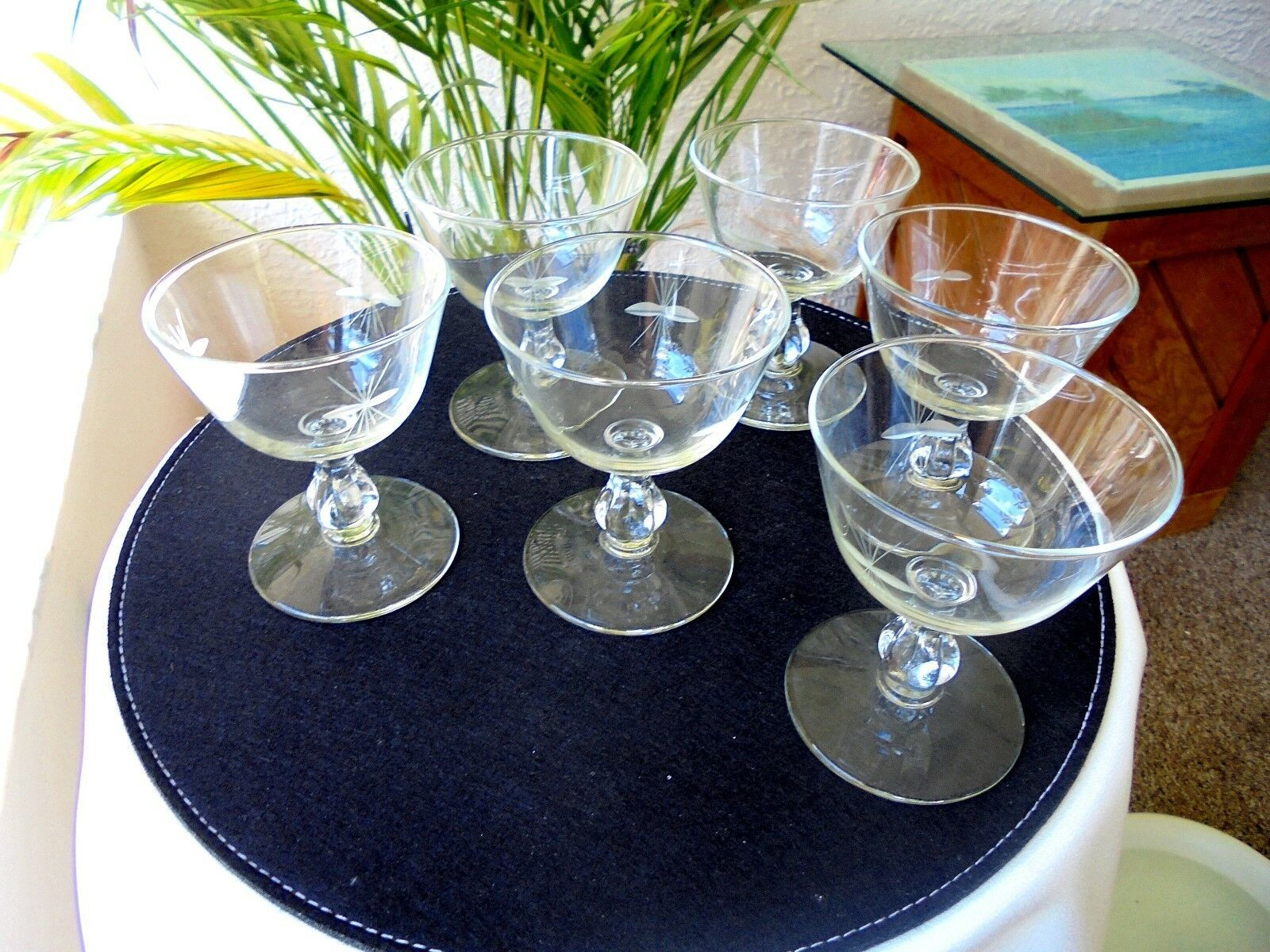 Set of 6 Libbey Rock Sharpe Starglow Champagne Glasses (Small) c 1940's - $23.76