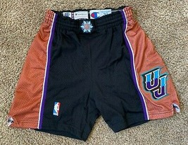 JOHN STOCKTON UTAH JAZZ GAME USED WORN SHORTS UNIFORM SIZE 32 BLACK MOUNTAIN - $650.49