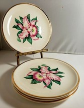 """Vintage Paden City Pottery Modern Orchid 4 BREAD PLATES 6-1/4"""" Pink orch... - $13.09"""