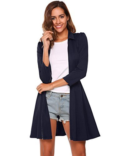 vansop Women's Zipper Front Ruffled Sexy Club Party Bodycon Mini DressesNavy Blu