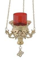 Hanging 3 Chain Engraved Brass Christian Church Vigil Lamp (9692 B) - $81.75