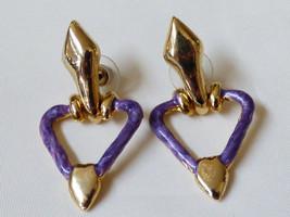 Elegant Gold Tone Metal Purple Enamel Long Dangle Earrings - $19.01