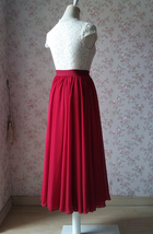 DARK RED Chiffon Maxi Skirt Women Full Maxi Chiffon Skirt Dark Red Wedding Skirt image 4