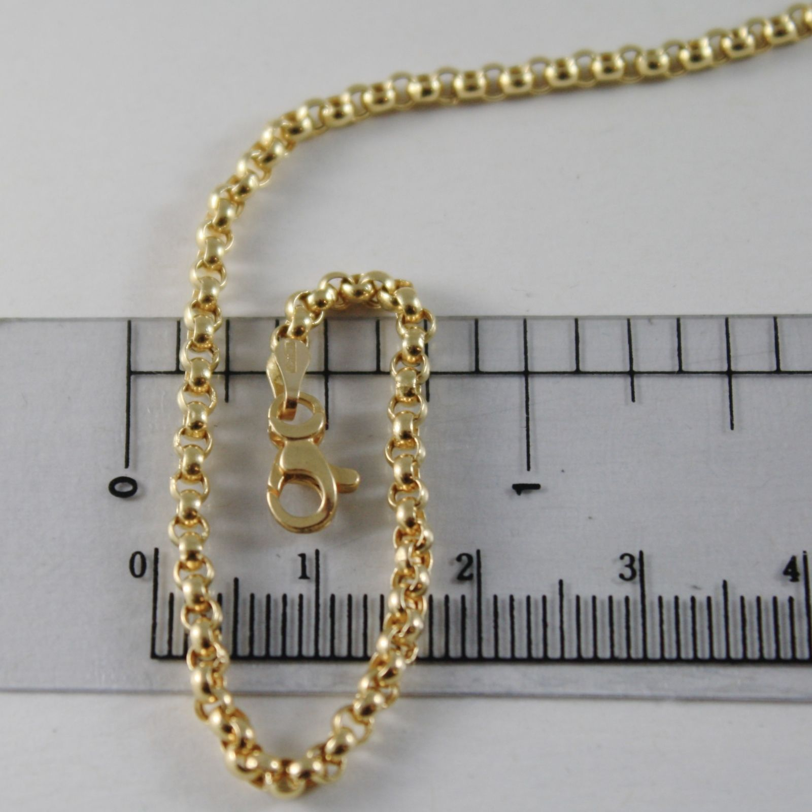 18K YELLOW GOLD CHAIN 23.60 IN, DOME ROUND CIRCLE ROLO MESH 2.5 MM MADE IN ITALY