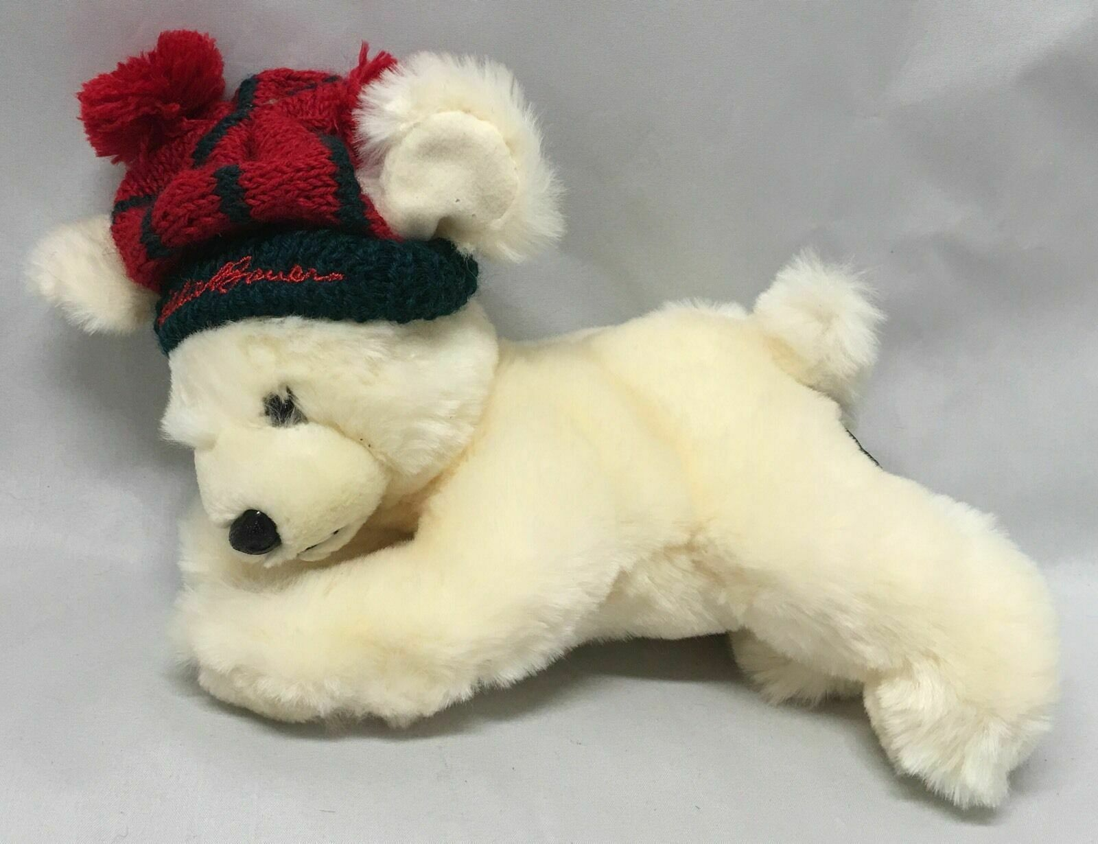 Primary image for Unipak Eddie Bauer Cream White Polar Bear Red Pom Pom Hat Laying Down Plush 8""