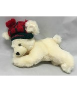 Unipak Eddie Bauer Cream White Polar Bear Red Pom Pom Hat Laying Down Pl... - $9.85
